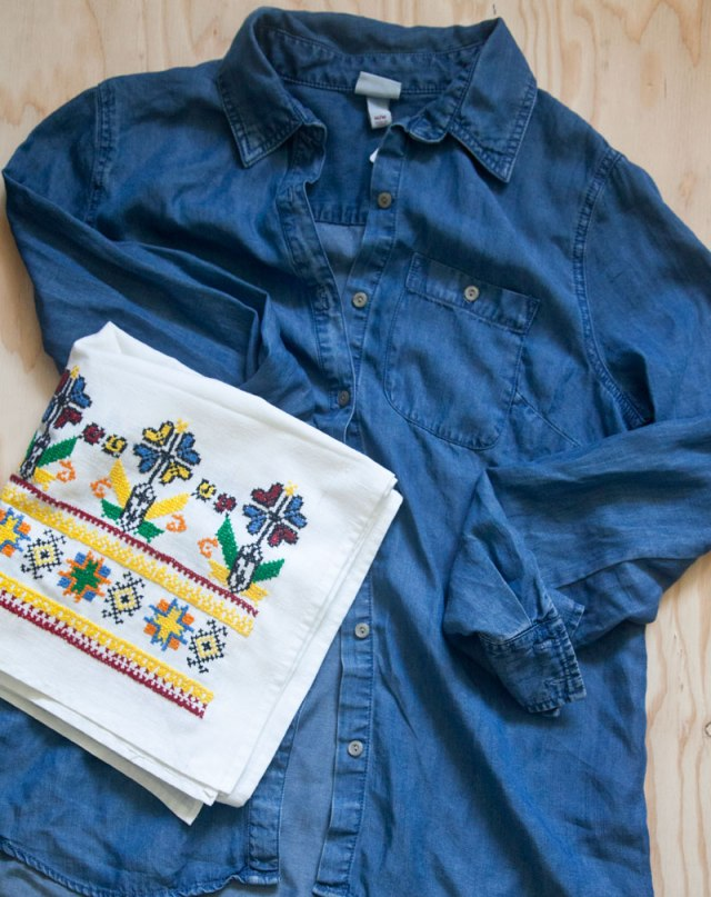 chambray shirt embroidered fabric